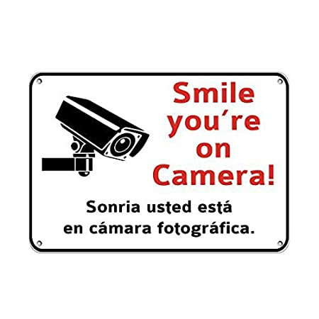 Laurbri Smile YouRe On Camera Security Cartel de Chapa ...
