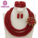 3 Rows Handmade Nigerian African Crystal Beads Jewelry Set Costume Bridal Necklace (Red)