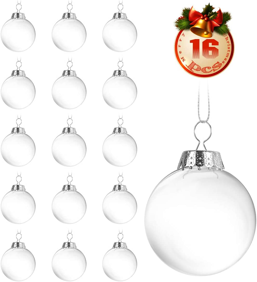 O-Kinee Bolas de Navidad Transparentes,16 pcs Bola de Adornos Navideños,DIY Bolas Rellenables para Manualidades,Decoraciones de Navidad,para Fiestas Festivales Adornos (16pcs)