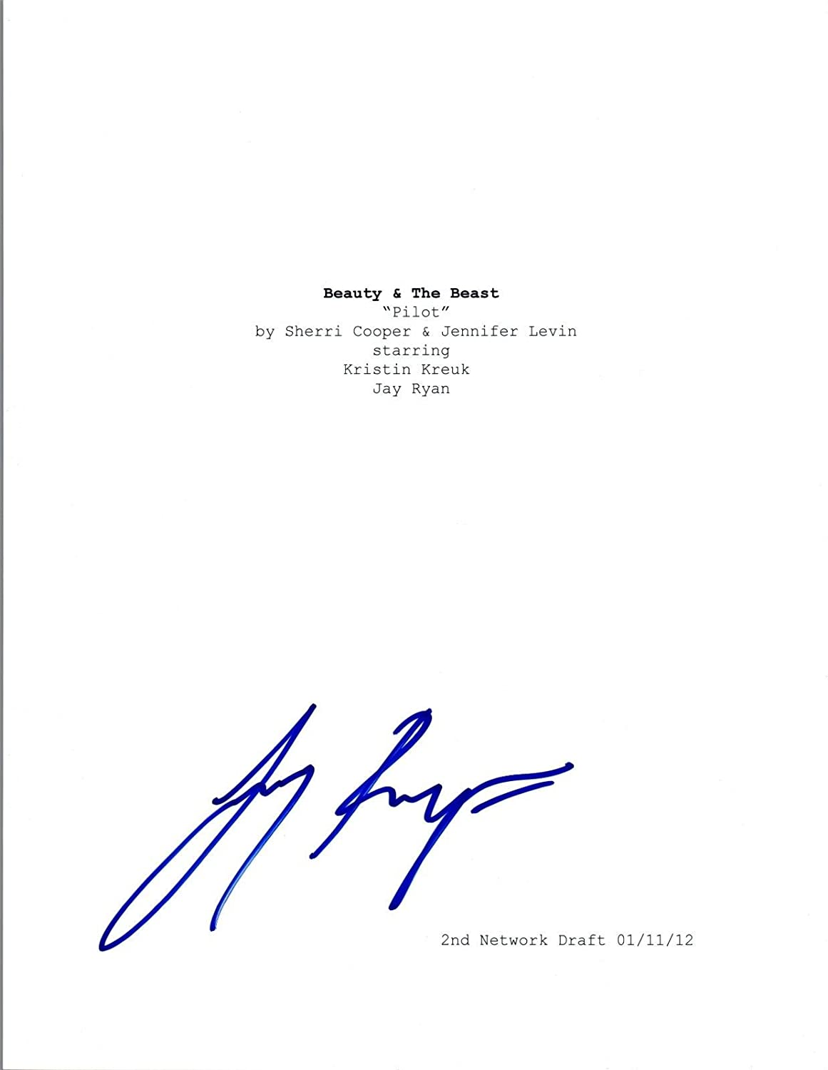 95725af7f Jay Ryan Signed Autographed BEAUTY   THE BEAST Pilot Episode Script ...
