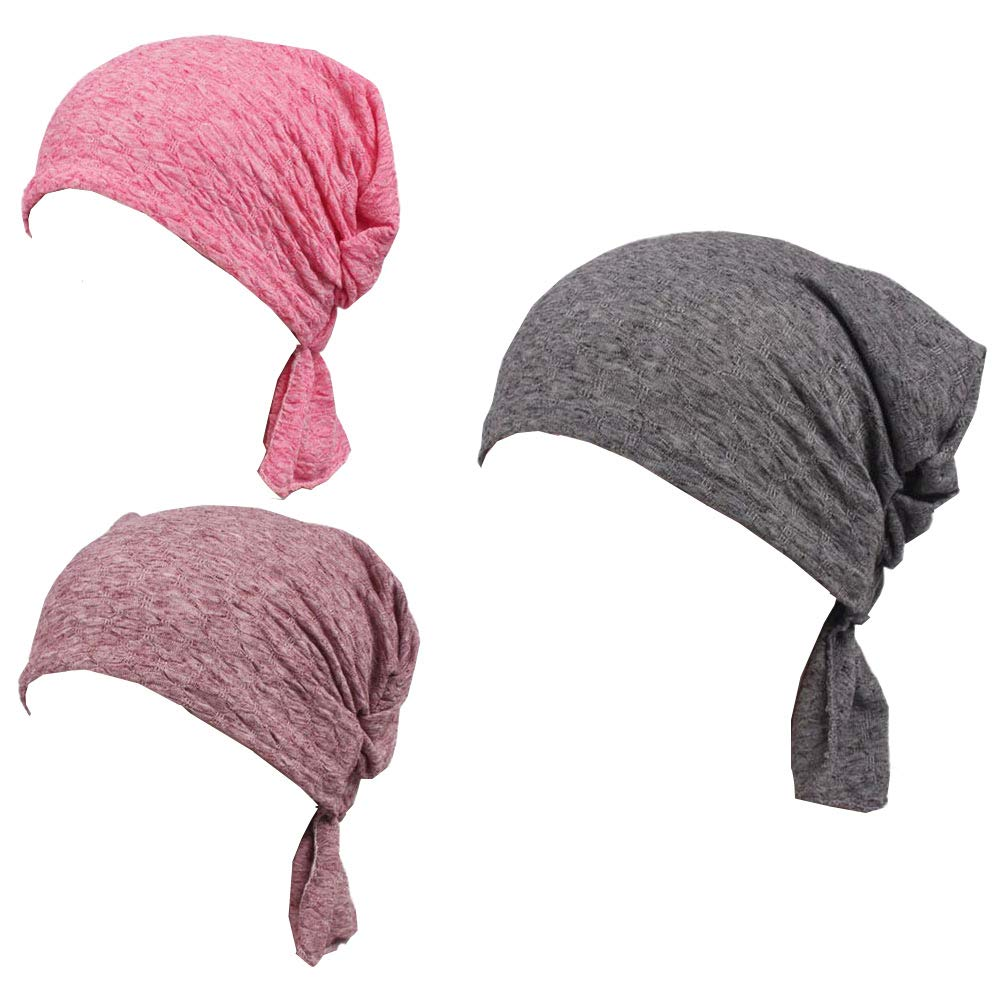 Luckystaryuan 3Pack Women's Chemo Hat Scarf, Turban Headwear for Cancer (Style 2)