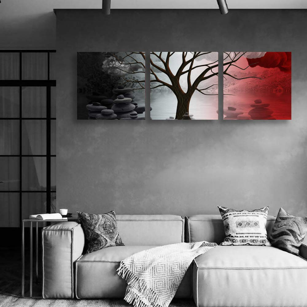 "wall26 Canvas Wall Art Abstract Cloud Tree Pictures Home Wall Decorations for Bedroom Living Room Oil Paintings Canvas Prints Framed - 12""x12""x3 Panels"