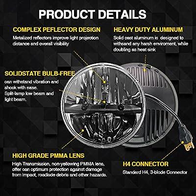 7 inch LED Headlight Round 2PCS E-MARK Approved 6000K Hi/lo Beam lamp Halo, Uni-light J004-2pcs: Automotive