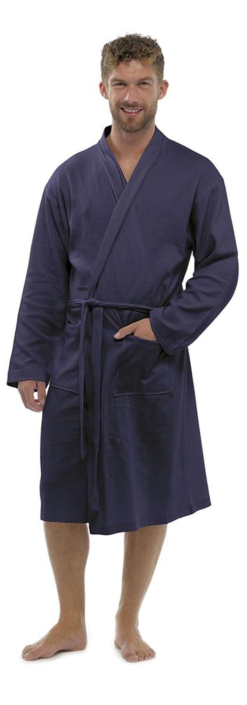 Mens/Gentlemens Nightwear/Sleepwear Waffle Long Sleeve Bath Robe/Dressing Gown, Navy Medium/Large