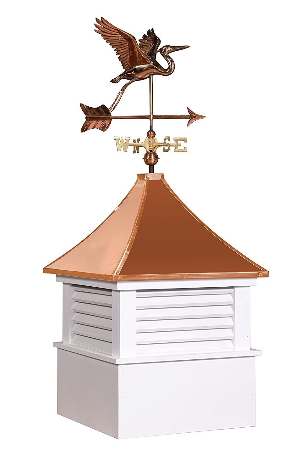 East Coast Weathervanes and Cupolas Vinyl Attleboro Cupola With Heron Weathervane (vinyl, 21 in square x 49 in tall)