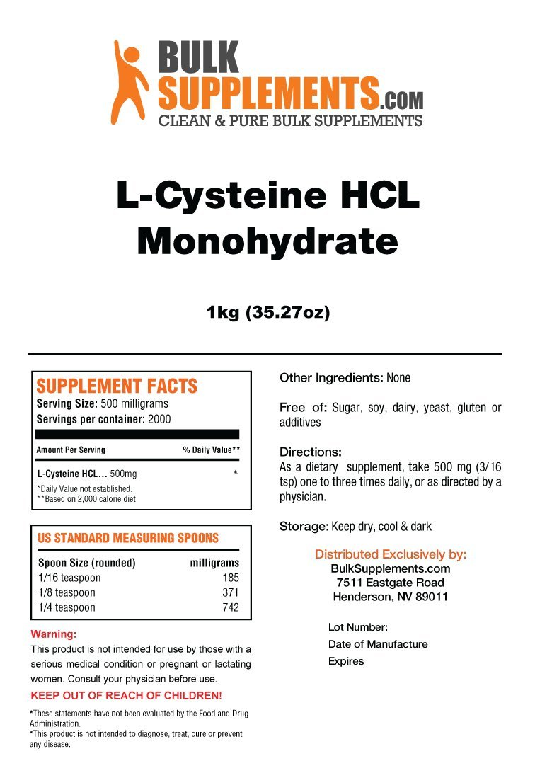 BulkSupplements L-Cysteine HCL Monohydrate Powder 5 Kilograms