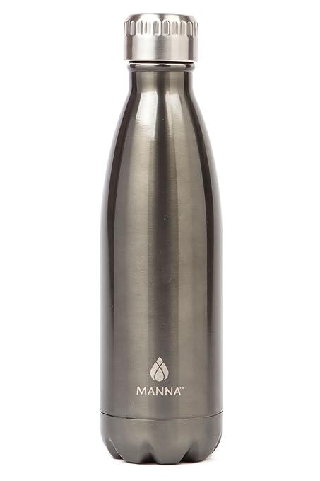 b1e41de62a Manna Vogue Metallic Stainless Steel Double Walled Vacuum Insulated 17  Ounce Water Bottle | No Sweat