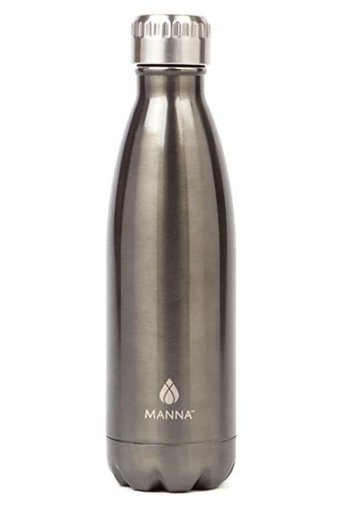 4cb0644360 Manna Vogue Metallic Stainless Steel Double Walled Vacuum Insulated 17 Ounce  Water Bottle | No Sweat