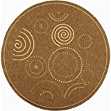 Safavieh Courtyard Collection CY1906-3009 Brown and Natural Indoor/Outdoor Round Area Rug (5'3″ Diameter) For Sale