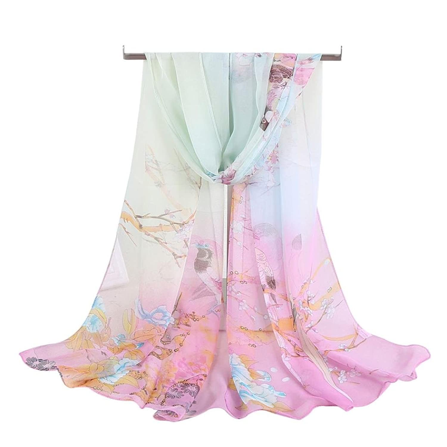 "Tuscom Women Chiffon Animal Bird printed Scarves Wrap Shawlé""›"