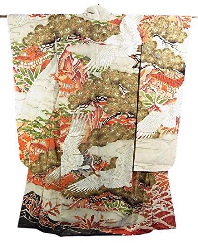 リサイクル 本振袖 婚礼用  雲取りに松や飛鶴 正絹 袷 裄62.5cm 身丈169cm