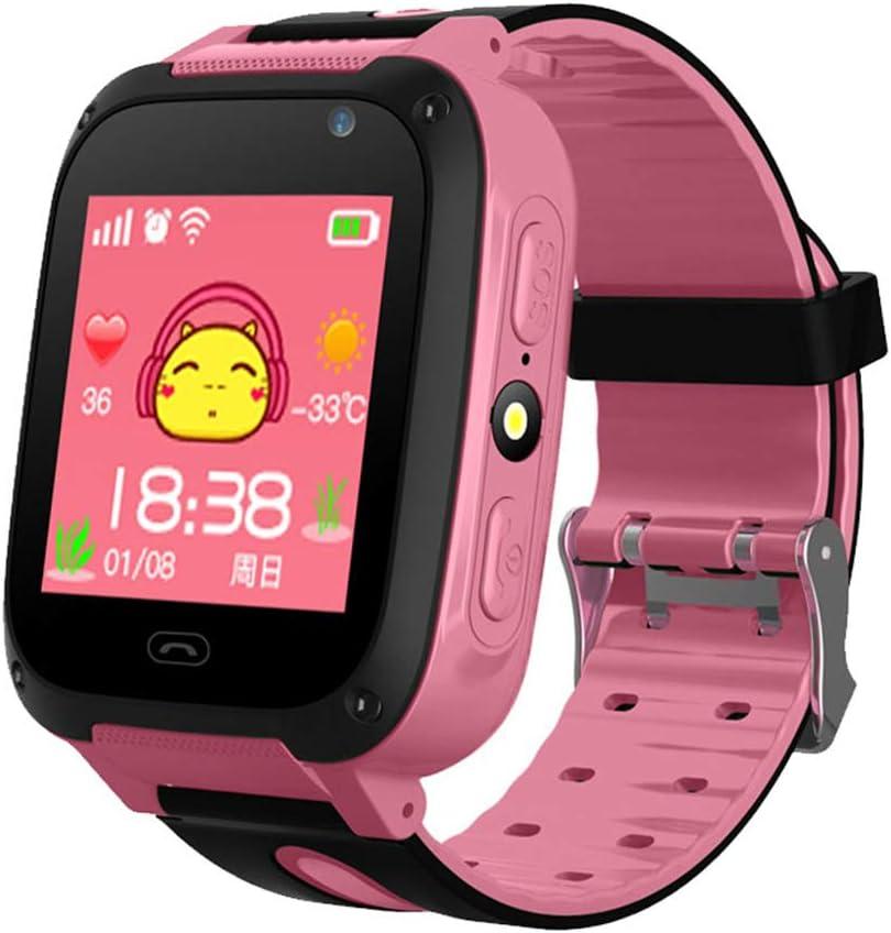 Reloj Inteligente, con GPS para Niños, Reloj Pulsera Antipérdida, Pantalla Táctil 1,44 Pulgadas, Resistente Agua, para Niños, Niñas, Regalo Cumpleaños,Rosado