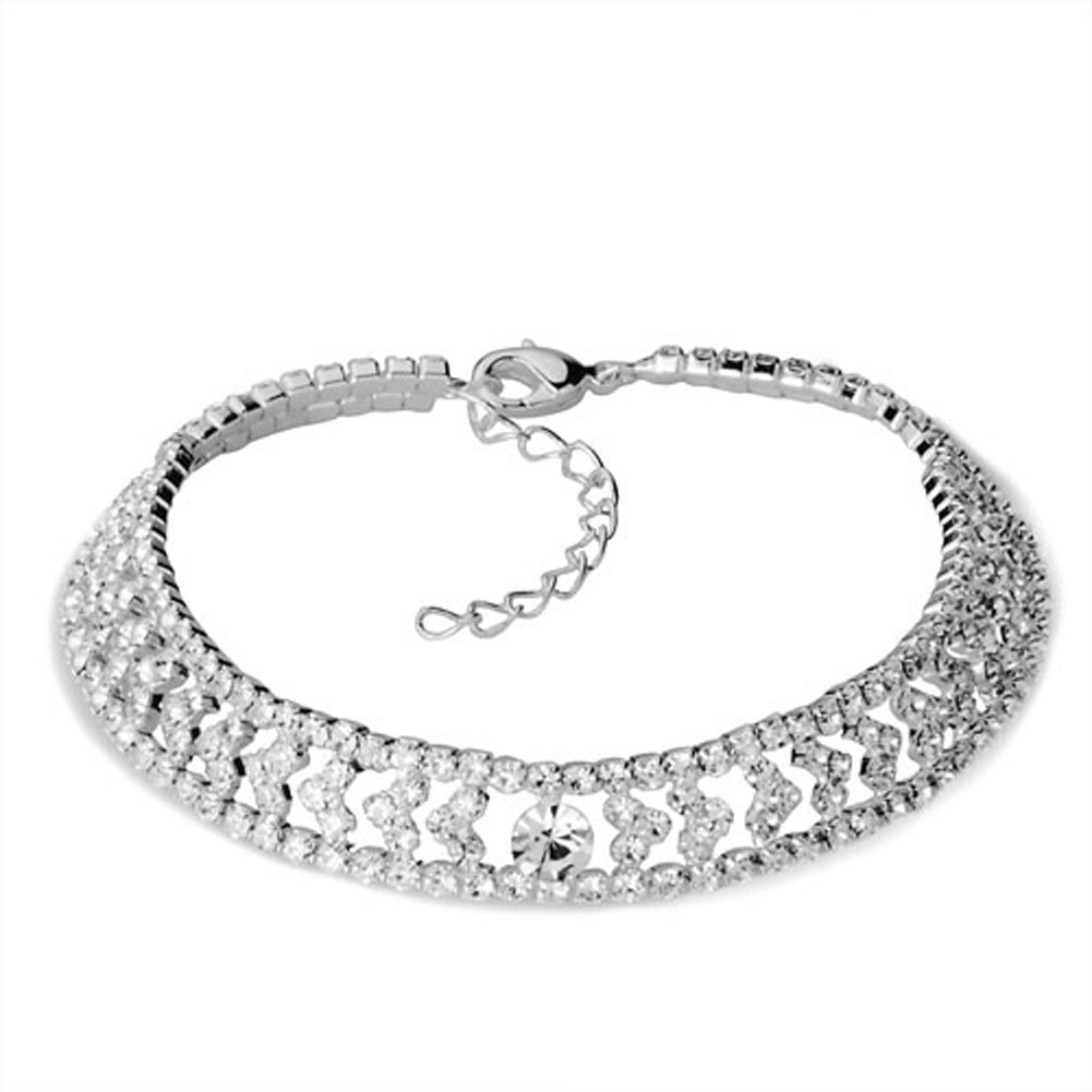CharmSStory Anklet Bracelet Clear Synthetic Crystal Heart Inlay Ankle Adjustable Lobster Clasp11 inch