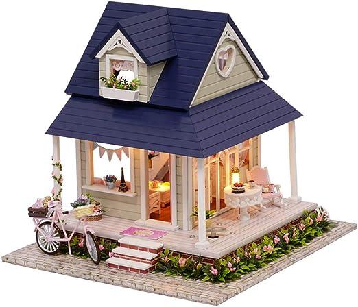Casa de muñecas en miniatura de madera de bricolaje, casa de ensamblaje de bricolaje, manualidades en miniatura, juguetes para niños y adolescentes, bicicleta en ángel con movimiento musical: Amazon.es: Jardín