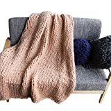 Per Giant Chunky Yarn Knit Handmade Blanket Extra-Large Thick Knitting Knitted Throw Blanket Fro Bed Sofa Baby Pet-Khaki,XXL