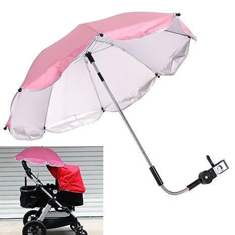 demiawaking Sombrilla Parasol para carrito Universal Anti UV de dirección ajustable de 360 grados paraguas para