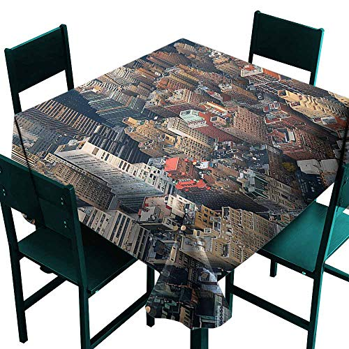 DONEECKL Dust-Proof Tablecloth NYC Aerial View Streets Building Picnic W63 - Mahjong Aerial