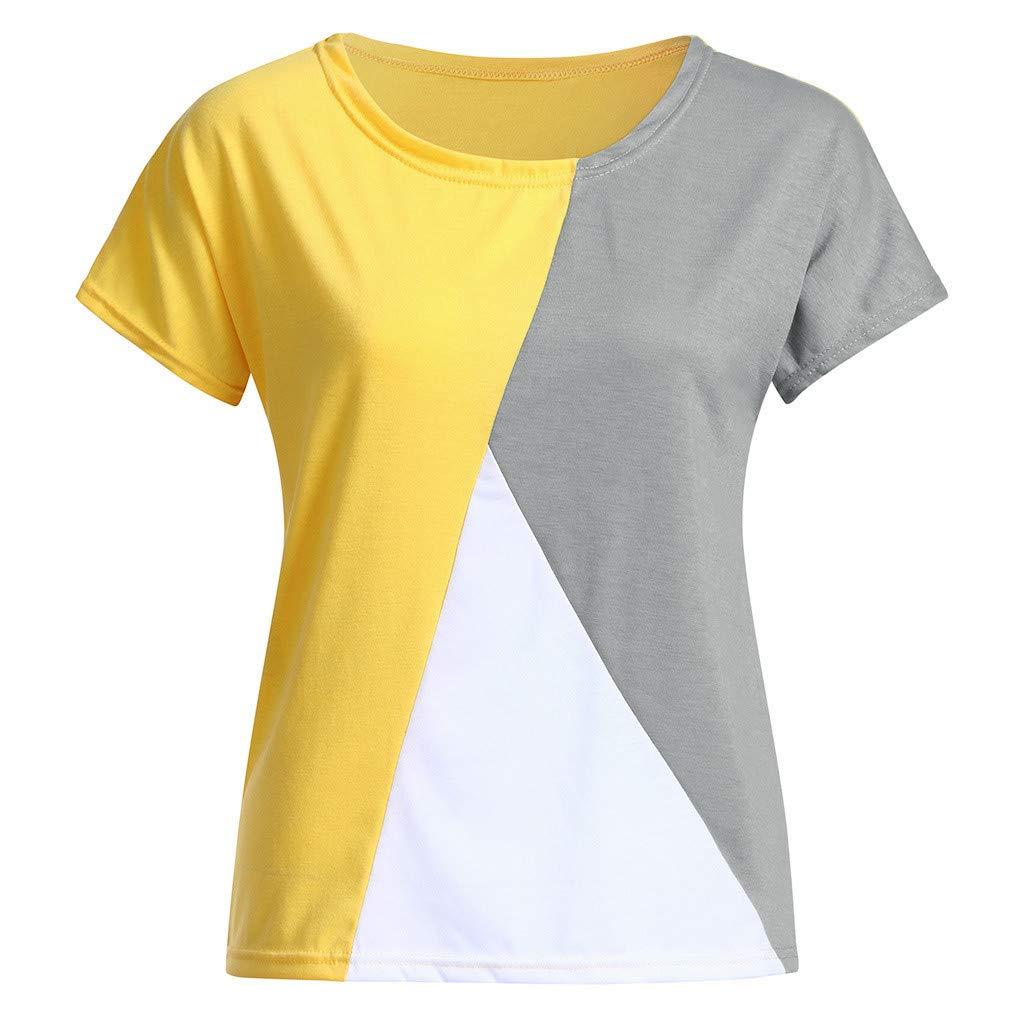 Womens Summer//Spring T Shirt Top,Moginp Short Sleeve Shirt 2019 Patchwork Color Loose Daily Tee Shirt Tops Blouse