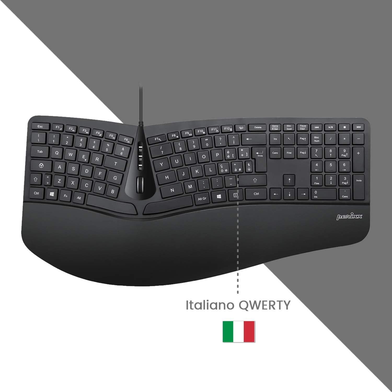 Perixx Periduo-505 - Juego de teclado ergonómico con ratón vertical, diseño 3D con teclas divididas y rueda de desplazamiento inclinable, ...