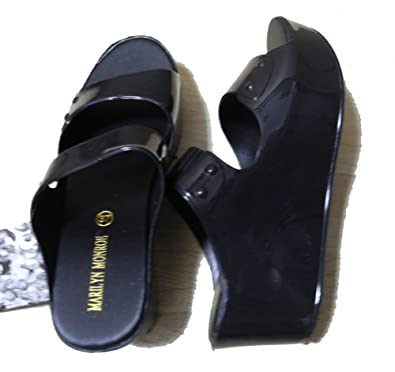 04b6fe30e0b Marilyn Monroe Women Fashion Two Strap Jelly Summer Beach Sandal All  Purposes Shoes Black