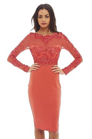 dd125ab015 Amazon.com  AX Paris Women s Lace Detail Long Sleeved Bodycon Dress ...