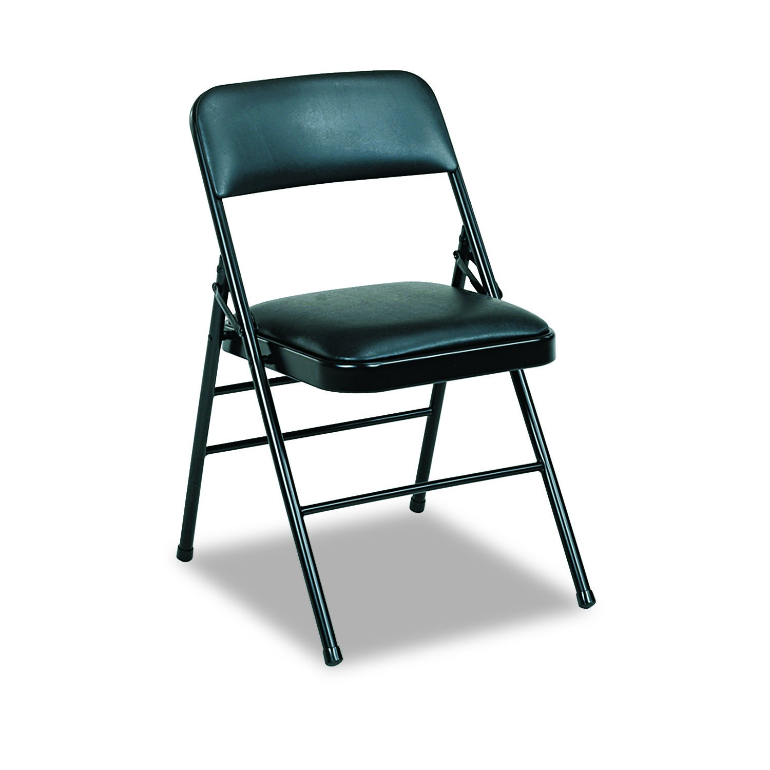 Cosco 608830054 Deluxe Vinyl Padded Seat & Back Folding Chairs, Black (Case of 4)