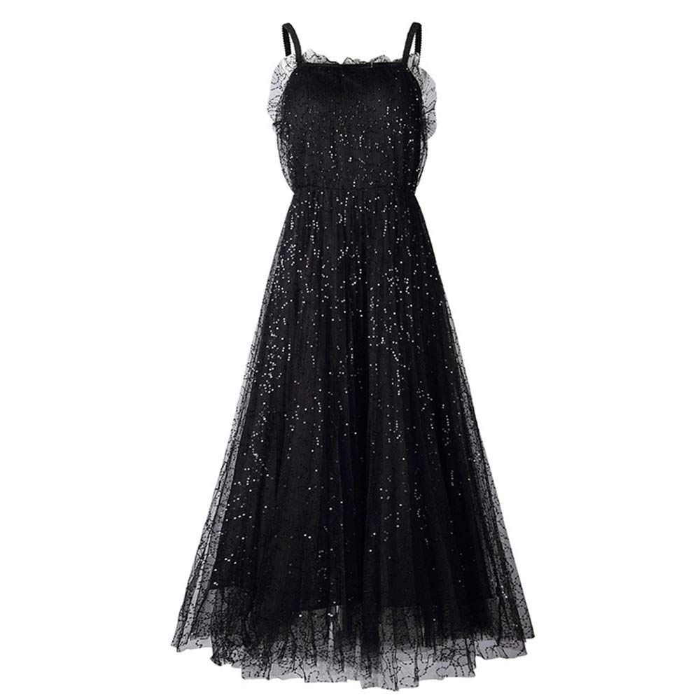 Black Women Formal Bridesmaid Gowns Women Sweetheart Sleeveless Maxi Evening Prom Dress Sparkly Sequins Mesh Tulle Dress Cocktail Formal Party Ball Gown Bridesmaid Long Dress Flowy Swing Dress Evening Dress