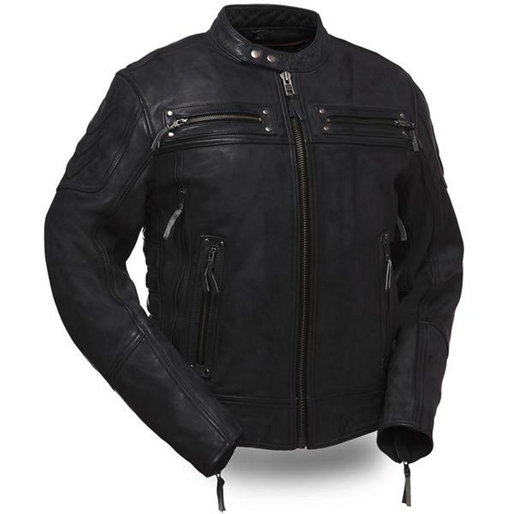 5aa8d1242 Warrior King Men's Sporty Scooter Style Leather Motorcycle Jacket ...