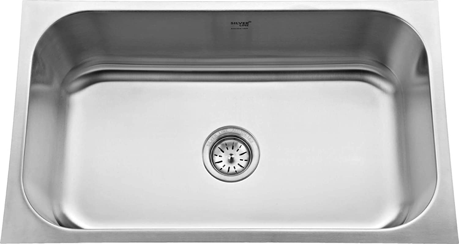 Buy Silver Line Stainless Steel Grade 304 Kitchen Sink Size 30 X 18 X 9 Online At Low Prices In India Amazon In