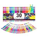 Glitter Gel Pens Color Gel Pen Set, Colored Gel Markers with 40% More Ink for Adult Coloring Books, Drawing, Bullet Journal, Taking Note and Doodling (30 Colors)