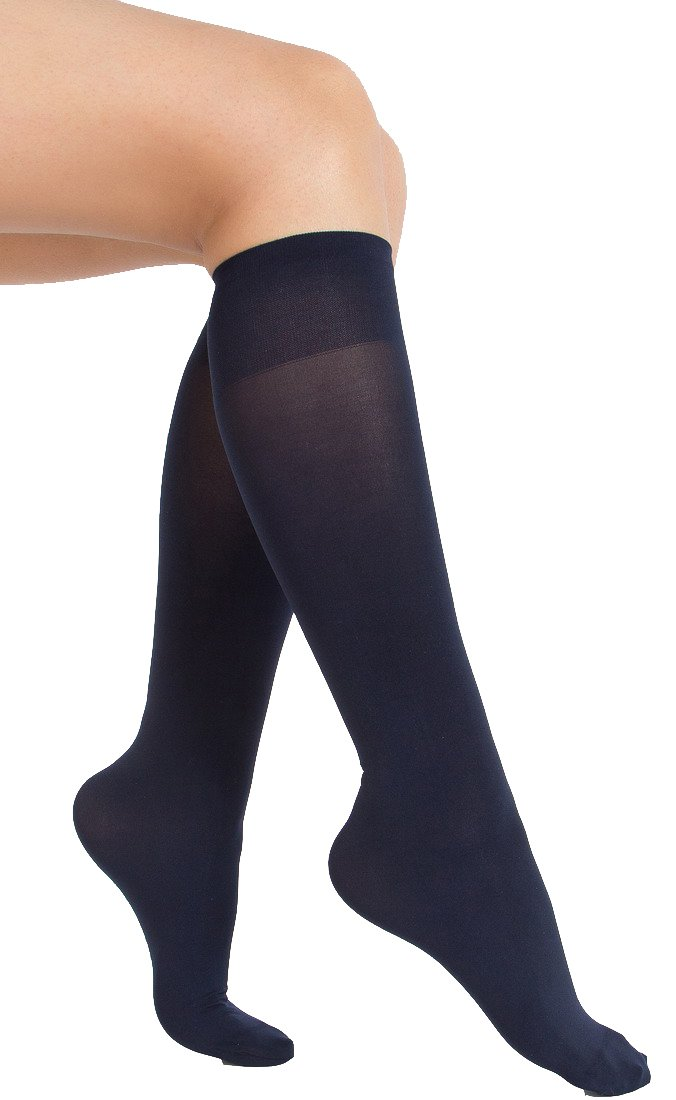 6 Pair Women Opaque Microfiber Stretchy Knee High Trouser Socks