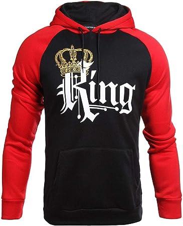 sweatshirt Camisa De Entrenamiento_Pareja USA Sudadera con Capucha Corona De Rey/Reina Jersey Rojo/Negro para Hombres Y Mujeres S M L XL 2XL: Amazon.es: Hogar