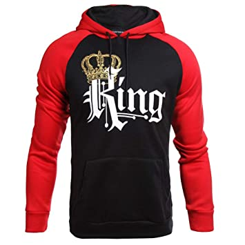 sweatshirt Camisa De Entrenamiento_Pareja USA Sudadera con Capucha Corona De Rey/Reina Jersey Rojo/Negro para Hombres Y Mujeres S M L XL 2XL: Amazon.es: ...