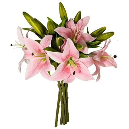 Amazon.com: Artificial Lilies Flowers, 5 Bundles 3 Heads Real Touch ...