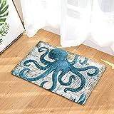 Z&L Home Coastal Non Slip Doormat Home Office Floor Mat Rug, Machine Washable Customize Octopus Print,Indoor Kitchen Bathroom Entrance Door Mats Rubber