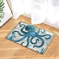 EZON-CH Modern Non Slip Watercolor Sea World Animal Home Bathroom Bath Shower Bedroom Mat Toilet Floor Door Mat Rug Carpet Pad Doormat(15.7X23.6IN)(Octopus)