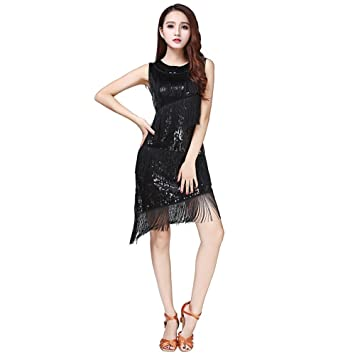 WomenLatin Dance Dress, Qlan Womens Sexy Latin Rumba Tango Rhythm Tassel Sequins Dance Dress