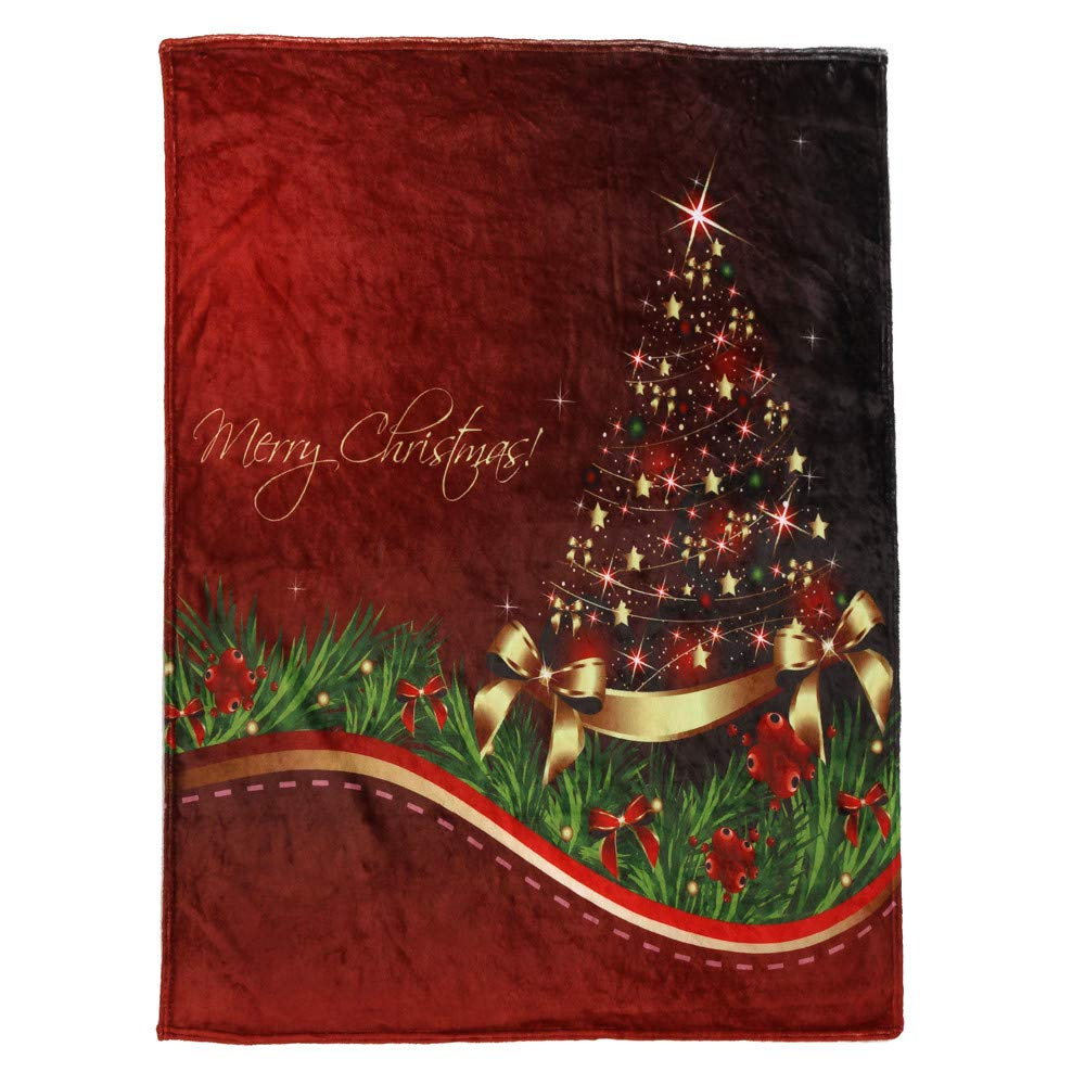 Sunshinehomely Christmas Blanket Flannel Fabric Sofa Blanket for Couch Sofa Chair Bed Blankets (130X150CM, H)
