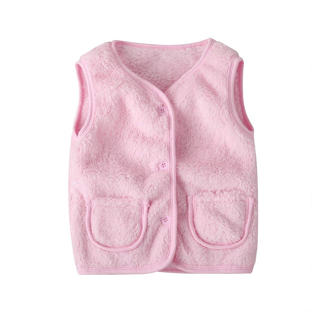TheFound Toddler Baby Girl Cute Vest Jacket Faux-Fur Solid Color Winter Warm Tank for Kids