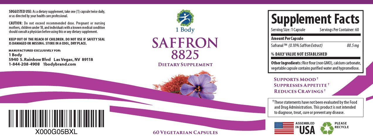 Saffron Extract 8825 – Natural Appetite Suppressant for Healthy Weight Loss Without Stimulants – 88.5 mg of Pure Safranal per Vegetarian Capsule
