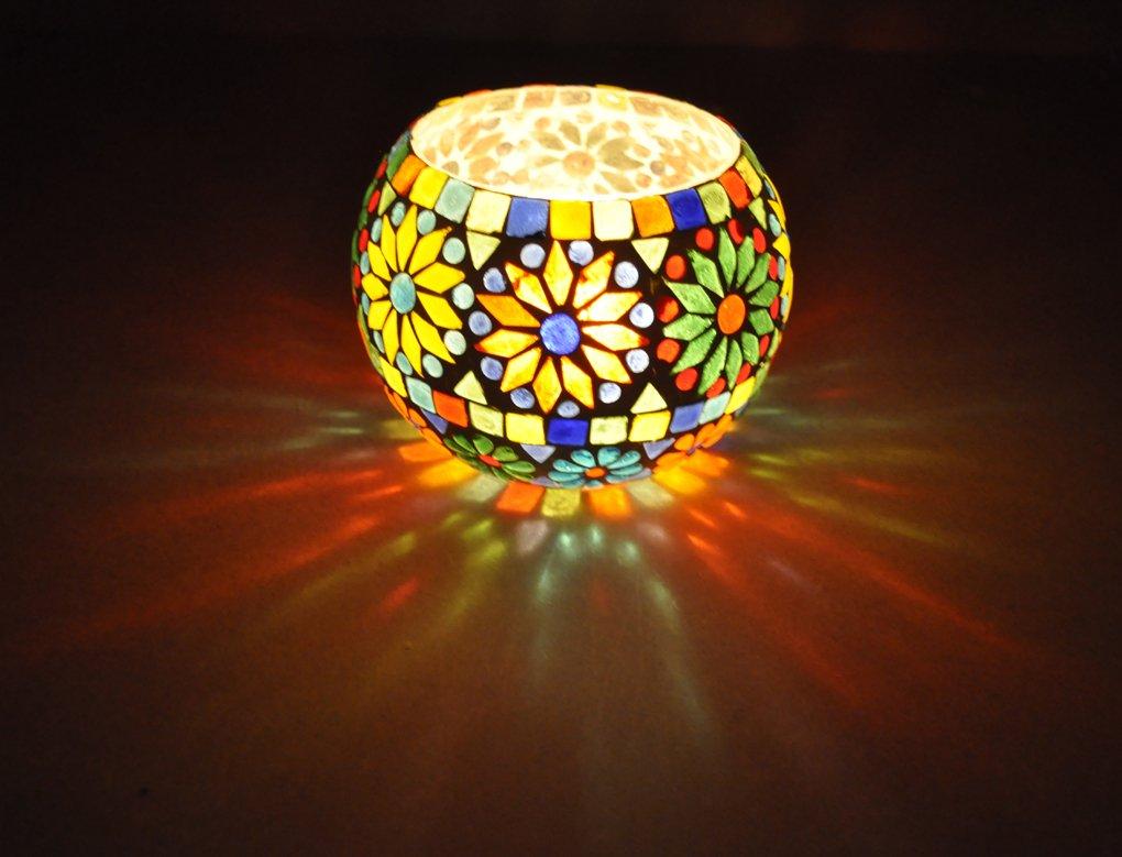 Vintage Handmade Glass Flower Vase & Votive Candle Holder Christmas Gift Item 5 Inches