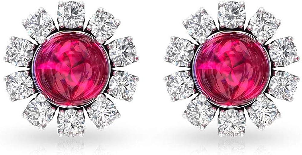 Pendiente de rubí solitario de 1,43 ct, 0,50 ct IGI certificado de diamante, cabujón redondo de piedra preciosa, IJ-SI color claridad de diamantes pendientes de oro, tornillo hacia atrás