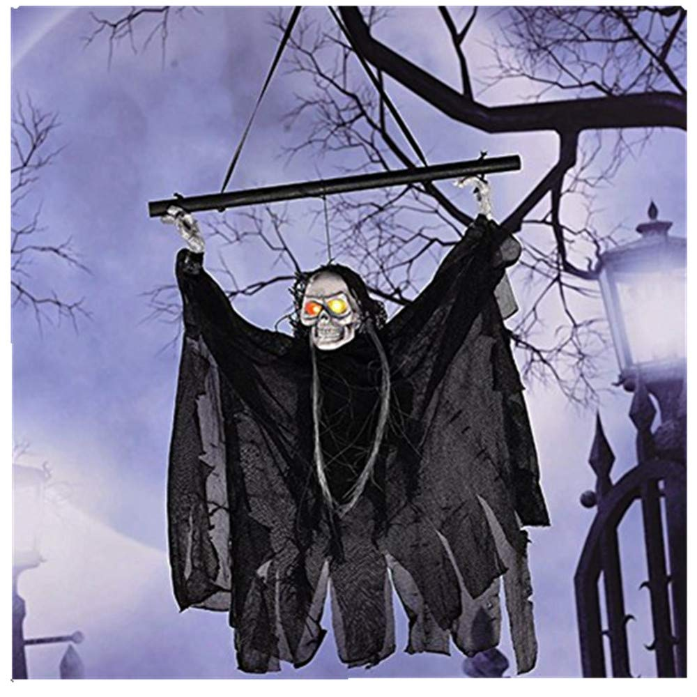 Arvin87Lyly Halloween Animated Hanging Ghost Skeleton Skull Reaper LED Light-up Eyes Sound Chains Hanging Haunted House Decoration Prop Party Decoration Halloween