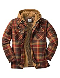 Legendary Whitetails Men's Maplewood Hooded Shirt Jacket (Large, Maplewood Brown Plaid)