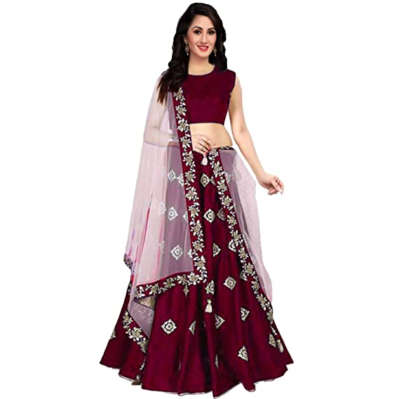 cf752d26a7f Khodal Art Women s Silk Embroidered Semi Stitched Lehenga Choli For Women  (Multy Colour Silk Free Size)  Amazon.in  Clothing   Accessories