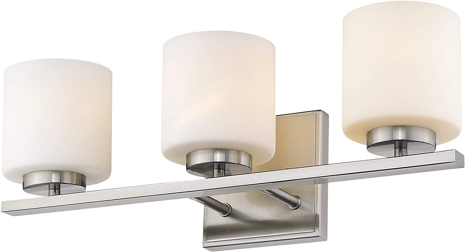 Emliviar 3 Light Bathroom Vanity Light Fixture Brushed Nickel Finish With White Frosted Glass Shade 21002 3b Amazon Ca Home Kitchen