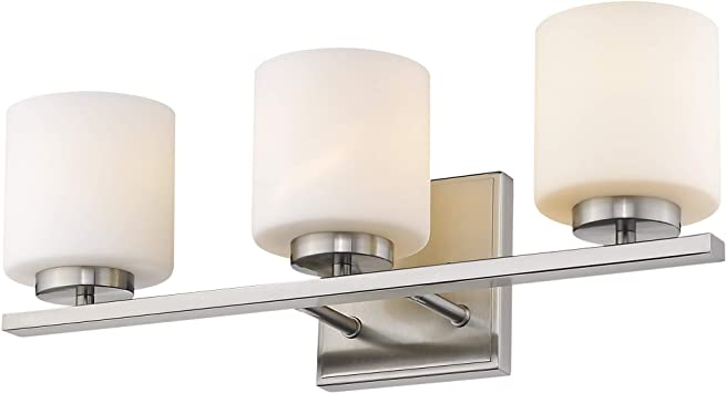 Emliviar 3 Light Bathroom Vanity Light Fixture Brushed Nickel Finish With White Frosted Glass Shade 21002 3b Amazon Com