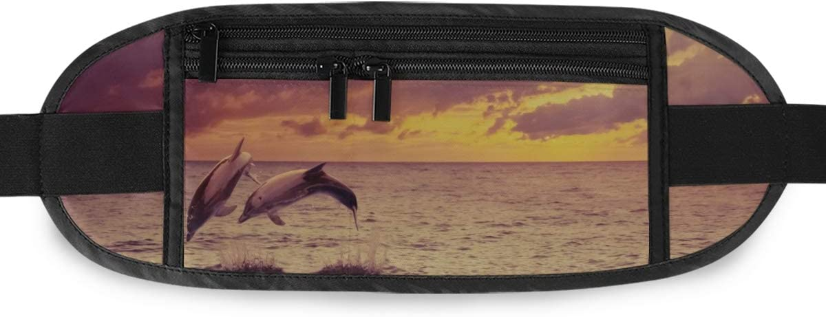 Travel Waist Pack,travel Pocket With Adjustable Belt Two Dolphins Beautiful Sunset Running Lumbar Pack For Travel Outdoor Sports Walking