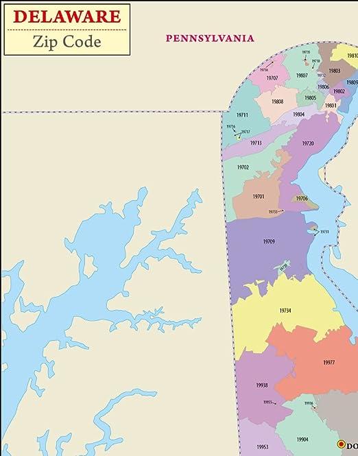 Amazon.: Delaware Zip Code Map   Laminated (36