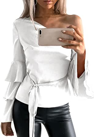 Siswong Camiseta Blusa Manga Larga de Volantes Blusa Playa Hombros Descubiertos Elegante Tops Mujer Fiesta Noche